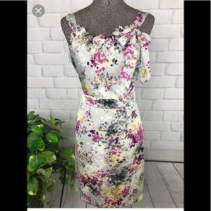 NEW! Ann Taylor LOFT Floral Gray Dress- Petite 6